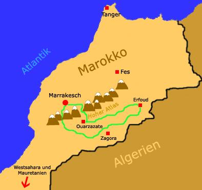 Die Route durch Marokko 2007