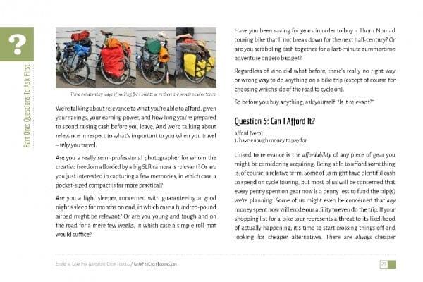 """Auszug """"Essential Gear for Adventure Cycle Touring"""" von Tom Allen"""