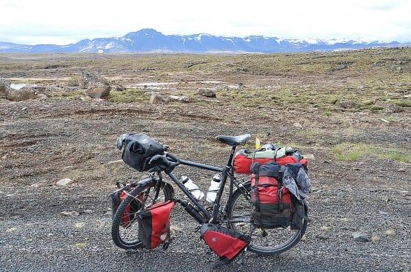 Mein bepacktes Rad auf Island
