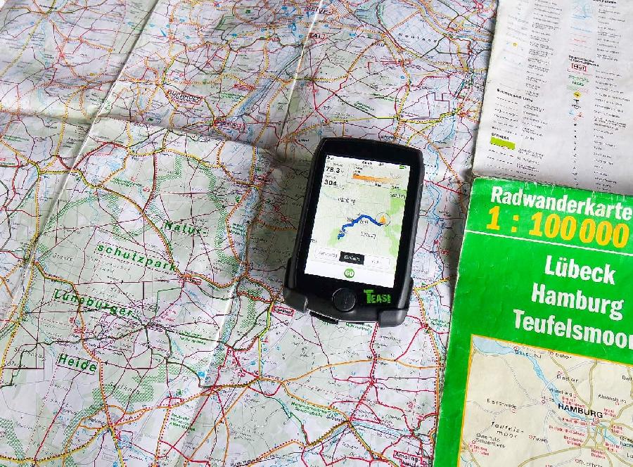 Mit Karte und Teasi Pro unterwegs