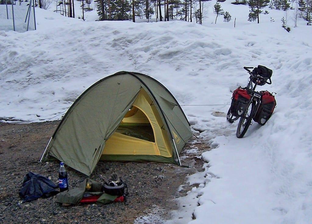 radtour im winter zelten in norwegen