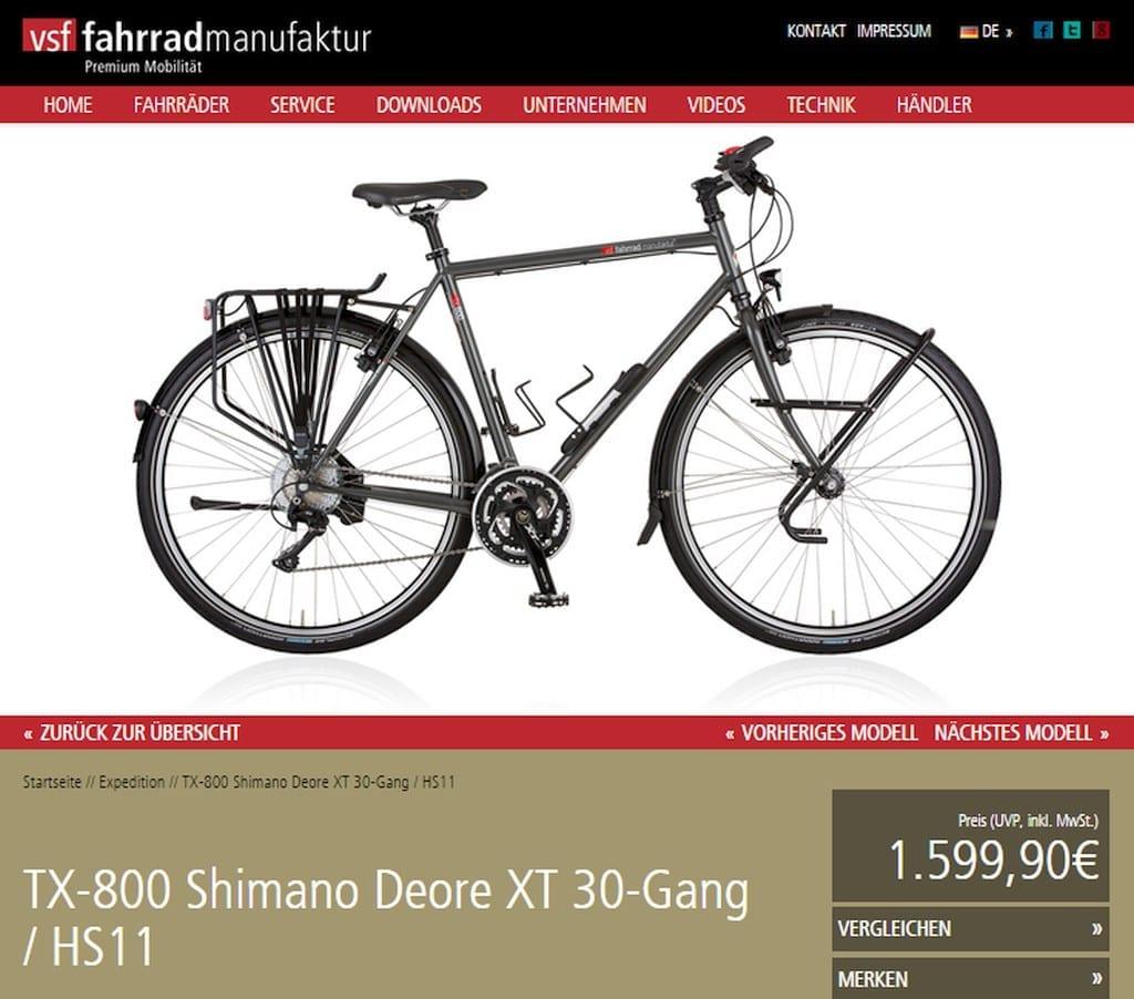 8 unter 1500 screenshot vsf fahrradmanufactur tx800