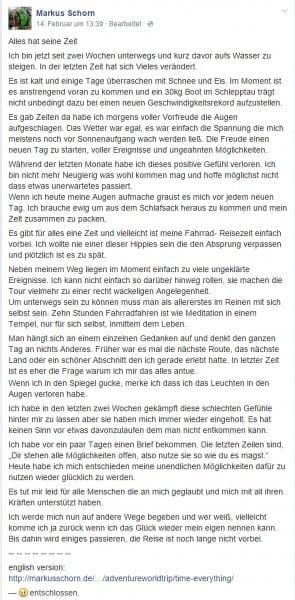 Facebook Post von Markus