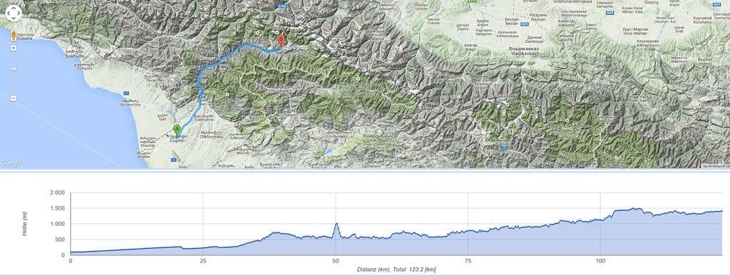 7.500 Höhenmeter sind auf dem Weg von Zugdidi nach Mestia (oder umgekehrt) zu bewältigen. Immer wieder müssen große und kleine Pässe überwunden werden.