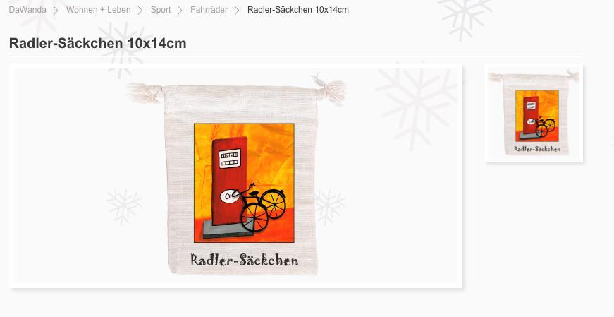 Screenshot vom Radler-Säckchen