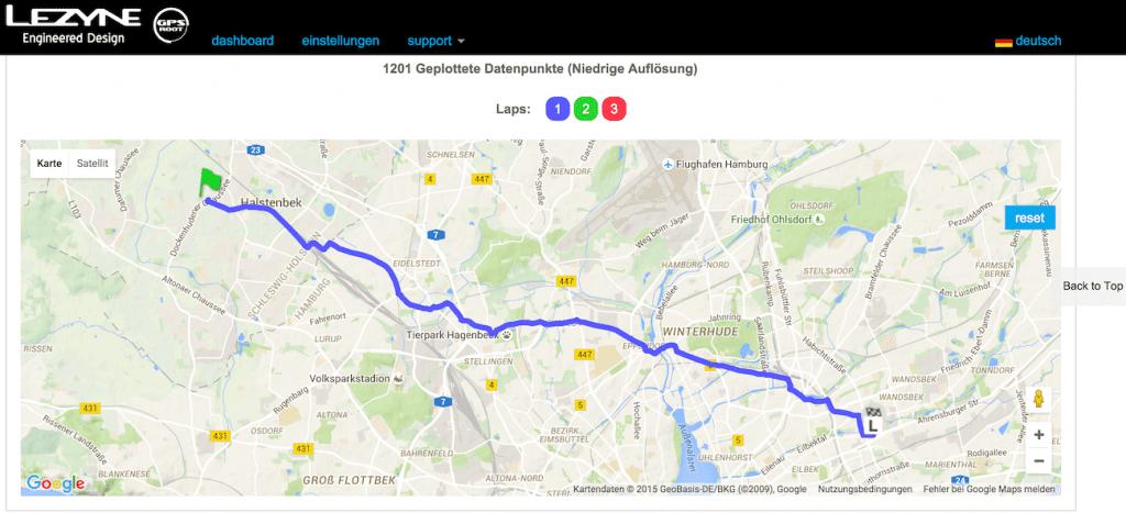 Darstellung der aufgezeichneten Route im Lezyne GPS Portal (übrigens meine #bike2work Strecke)