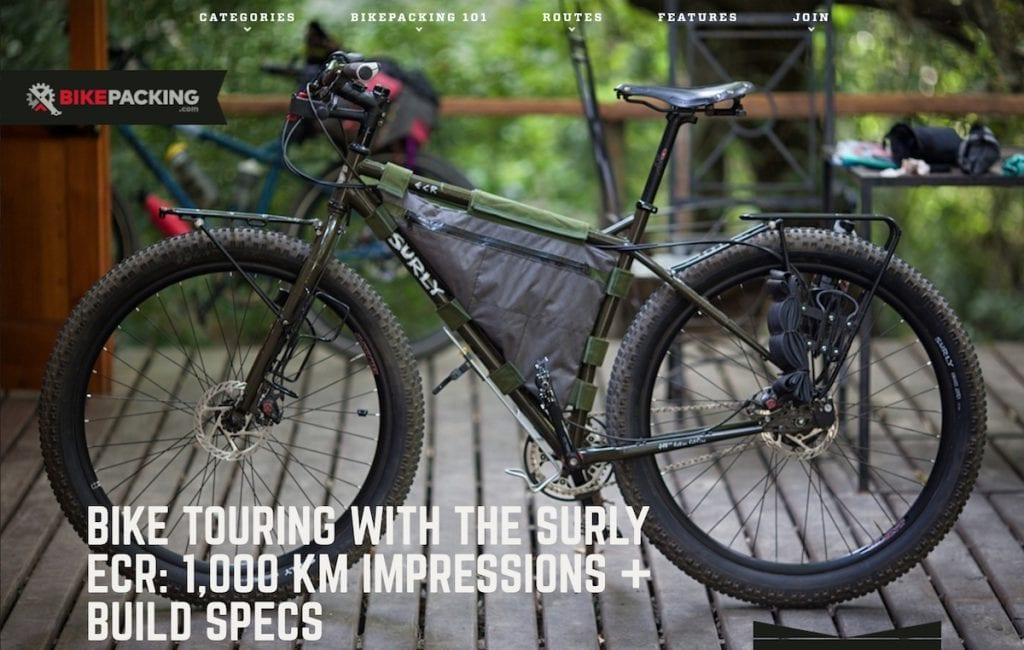 Das Surly ECR im Aufbau von Logan Watts © Screenshot Bikepacking.com