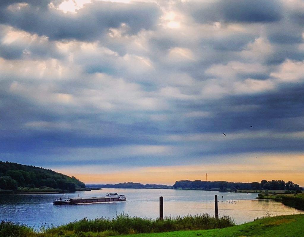 In den Morgenstunden entlang der Elbe