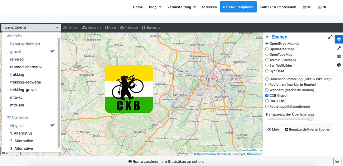 Schotter lässt sich planen: der CXB Gravel-Routenplaner